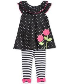 Nannette Baby Girls' 2-Piece Dot Tunic & Stripe Leggings Set