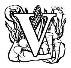 www.preschoolcoloringbook.com / Alphabet/ Fruit & Vegetable Alphabet Coloring Page