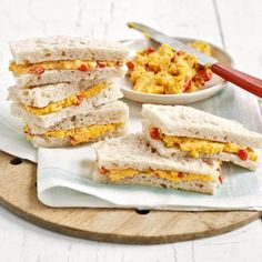 Travel Snacks - Food and Recipes that Travel Well - Pimento Cheese Sandwiches from Delish.com