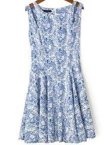 Vestido floral correa de espagueti-azul