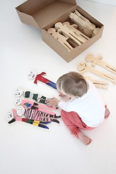 Lovely wooden toys! Would make a great DIY project too! | paint the wooden dolls yourself #diy