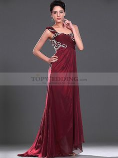 Beaded One Shoulder Chiffon over Elastic Satin Prom Dress with Split Front