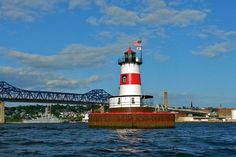 Borden Flats Lighthouse in Fall River, MA.