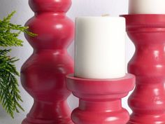 Raspberry Pink Wood Candle Holder set of by gleamingrenditions, $30.00