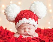 Christmas Adult Santa Hat, Teen Santa Hat, Womens Santa Hat, Mens Santa Hat Pom Pom Mouse Ear Hat - Red, White - Photography Prop Santa Hat. $41.00, via Etsy.