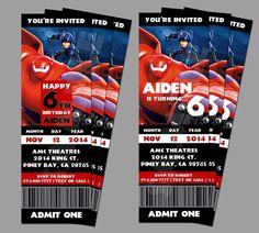 Printable Disney Big Hero 6 Birthday Party Ticket Big by PeekaOwl