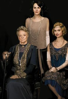 Maggie Smith, Michelle Dockery, Lily James in Downton Abbey costumes