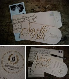 these could be an easy DIY - we could design and order a stamp/ emblem and this shape card is available through paper source