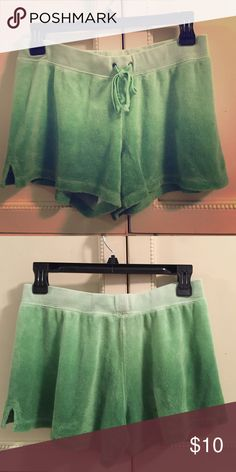 Juicy Couture Green Ombré Terry Cloth Shorts Juicy Couture green ombré terry cloth shorts. Super comfortable and trendy! Size small. Juicy Couture Shorts