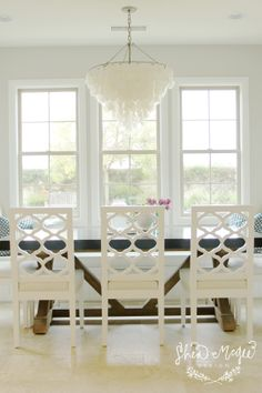 Farm Table + Capiz Chandelier || Shea McGee Design