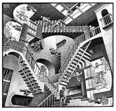 """M. C. Escher- """"Relativity""""- July 1953, Lithograph."""