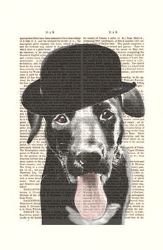 Labrador Bowler Hat Art Print dictionary page book art by FabFunky, $10.00