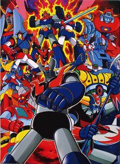 cartoons japan by Kazuhiro Ochi - Gundam, Japanese Robot, Japanese Cartoon, Combattler V, Big Robots, Robot Cartoon, Japanese Superheroes, Good Anime Series, Arte Robot