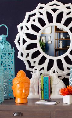 bright and beautiful home accents. Need to find those elephant bookends Room Inspiration, Interior Inspiration, Interior Decorating, Interior Design, The Design Files, Layout, My Dream Home, Home Accessories, Beautiful Homes