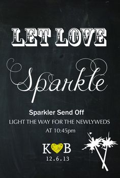 Wedding Sign Sparkler Send Off Wedding - Personalized  #sparklers #sparkler #weddingsign