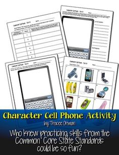 Character Cell Phone Activity Common Core Aligned