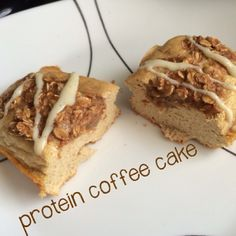 Protein Coffee Cake Combine the following dry ingredients: 1 scoop graham cracker whey (or use vanilla & add 1t cinnamon), ¼t baking soda, ¼t baking powder, &1/8C almond meal. Add 1 egg white & ¼C applesauce. Mix together. Bake @350F for 10 minutes. Combine 1T oats, 1T cinnamon, 1T almond meal, and 2T maple syrup in a bowl. After 10 mins, apply this topping. Bake for an additional 10 minutes. In a small bowl, combine ¼ scoop vanilla whey and enough almond milk to make a paste
