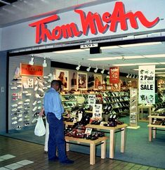 """Thom McAn Shoe Store (Mall shoe store - My grandma bought me a pair of """"Balloons"""" hi-tops there, but I really wanted Reeboks, LOL.)"""