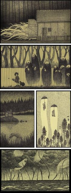 don kenn (not sure that is the right name), danish artist who draws tiny monster pictures.