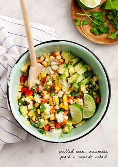 Corn, Cucumber, Peach and Avocado Salad - A refreshing summer salad topped with creamy serrano chile dressing. (vegan option)
