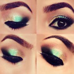 Aqua Green With Gold Glitter (Prom)