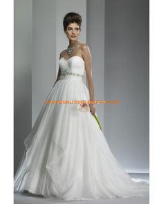 Luxuriöse maßgeschneiderte Brautkleider aus Organza und Satin A-Linie Herzausschnitt Hochtaille