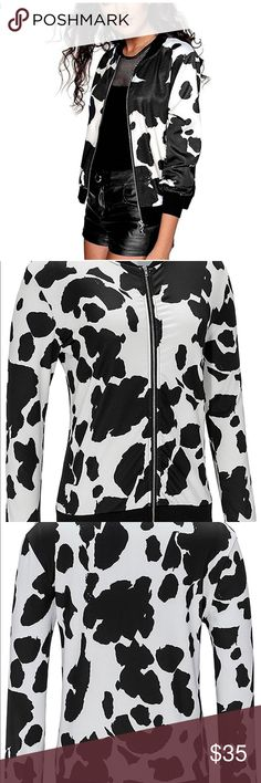 Animal Print Zip Up Bomber Jacket Coat Women's Long Sleeve Full Zip Fall Biker Bomber Jacket Outwear Coat Jackets & Coats Utility Jackets