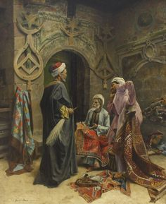 Carpet market Cairo Ottoman Egypt Halı pazarı Kahire Osmanlı d. Art Arabe, Middle Eastern Art, Arabian Art, Islamic Paintings, Old Egypt, Historical Art, Classical Art, Ottoman Empire, Egyptian Art