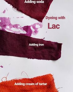 Dyeing with Lac. See the difference when I add cream of tartar, iron or soda?