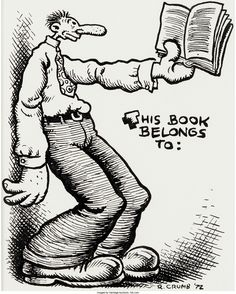 880a27b6d52 Robert Crumb - Unpublished Bookplate Illustration Original - W.B. Ex  Libris