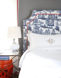 headboard house design design home design designs Home Bedroom, Bedroom Decor, Monogram Bedding, Home Interior, Interior Design, Chinoiserie Chic, Chinoiserie Fabric, Blue Rooms, Guest Bedrooms