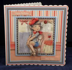 Mon Cherie. 8 x 8 decoupaged card Available from www.therhodaharveycollection.co.uk