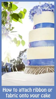 "How to attach Ribbon to a Frosted Cake...measure around cake and add 1/2"".  Adhear strip of wax paper to wrong side of ribbon using double sided tape. Apply ribbon to cake gently over-lapping and glue with royal icing."