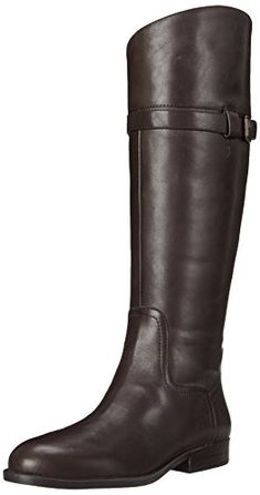 Nine West Women's Velika Leather Riding Boot, Dark Brown, 8.5 M US * Want additional info? Click on the image.