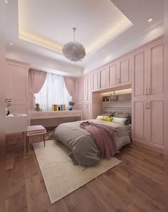 Sweet Bedroom Design for Teenage Girls - Small room design Teen Bedroom Designs, Bedroom Closet Design, Bedroom Decor For Teen Girls, Room Ideas Bedroom, Small Room Bedroom, Rooms For Teenage Girl, Attic Master Bedroom, Bedroom Layouts For Small Rooms, Cupboard Design For Bedroom