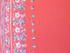 Placed Flower Embroidery on Width, Coral Viscose Voile Fabric Coral Background, Embroidery Patterns, Place, Fabrics, Color, Things To Sell, Straight Stitch, Veil, Coral