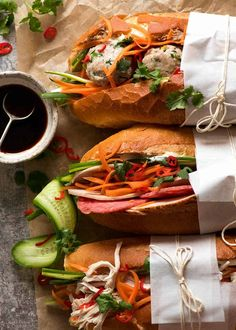 Overhead photo of Banh Mi (Vietnamese Sandwich Baguette) - Looks great but I will change the recipe to exclude pate & use rotisserie chicken Vietnamese Sandwich, Vietnamese Street Food, Vietnamese Recipes, Asian Recipes, Healthy Recipes, Ethnic Recipes, Vietnamese Restaurants, Vietnamese Banh Mi, Delicious Recipes