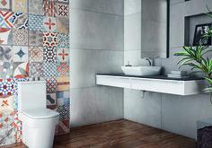 Banheiro - #ceramicaportinari. Bathrooms - Baños, banho, banheiro. Coleções Cerâmica Portinari, Lisboa, Eco Náutica e Cimento.