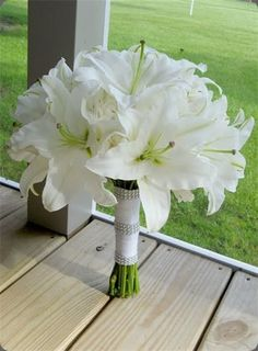 white lilies wedding flower bouquet