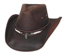 dd994e35e51 Montecarlo Bullhide Hats BRISCOE Top Grain Leather Western Cowboy Hat  (Medium) Mens Leather Hats