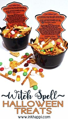 """A witches treat mix and a spell that tells all the """"spooky"""" ingredients in it such as goblin goo and rat poop!"""