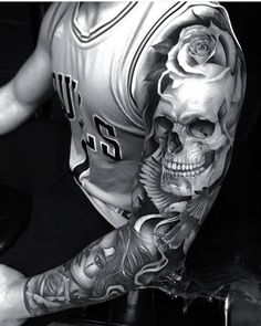 Check out this Firme work by Artist - Tattoos Skull Sleeve Tattoos, 3d Tattoos, Best Sleeve Tattoos, Tattoo Sleeve Designs, Rose Tattoos, Body Art Tattoos, Tatoos, Evil Tattoos, Hals Tattoo Mann