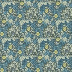 Morris Seaweed (214714) - Morris Wallpapers - New colourways of this popular early 20th century design, with a free flowing highly decorative pattern, incorporating seaweed and flowers. Shown in the Ink blue and Woad cream colourway. Please request sample for true colour match.