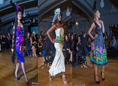 INLUSH hand painted silk dresses at fashion show
