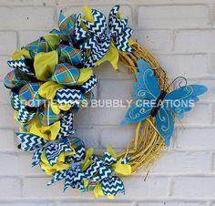 Butterfly Grapevine Summer Ribbon Wreath