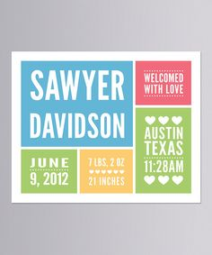 Take a look at this Blue 'With Love' Personalized Announcement Print on zulily today!