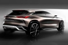 The Infiniti Concept, revealed today ahead of its global debut at the 2017 Detroit Auto Show, showcases the brand's vision for a next-generation mid-size SUV. Car Design Sketch, Car Sketch, Design Cars, Automobile, Detroit Auto Show, Mid Size Suv, Future Car, Future Tech, Car And Driver