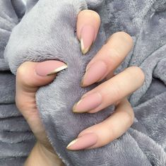 Nail Glitter Tips Almond - Nail Perfect Nails, Gorgeous Nails, Love Nails, How To Do Nails, Pretty Nails, My Nails, Minimalist Nails, French Nails, Gucci Nails