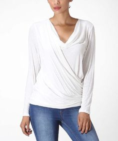 Look what I found on #zulily! White Ruched Drape Top by Bellino #zulilyfinds $15 Also in black, grey & red