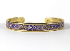 Cuff Bracelets, Bangles, Polymer Clay Canes, Bead Shop, Really Cool Stuff, Brass, Purple, Metal, Gold